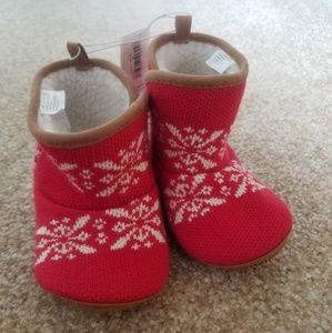 Old Navy Red Fur Velcro Winter Print Booties